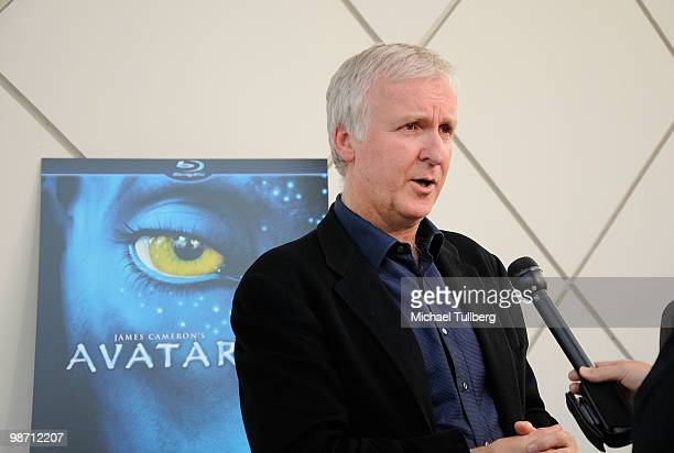Director James Cameron gets interviewed on the blue carpet at Is Pandora Possible a scientific discussion panel regarding the science and technology...