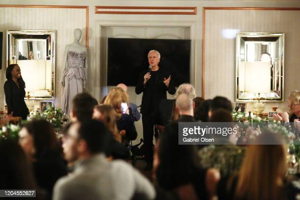 Director James Cameron gives speech during Red Carpet Green Dress at the Private Residence of Jonas Tahlin CEO of Absolut Elyx on February 06 2020 in...
