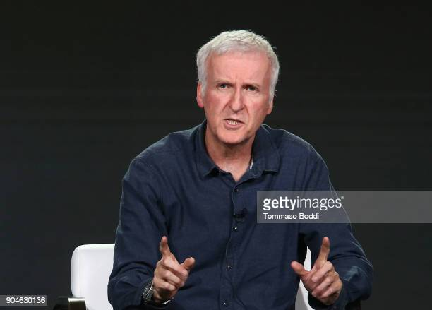 Director James Cameron of the television show AMC Visionaries James Cameron's Story of Science Fiction speaks onstage during the AMC portion of the...