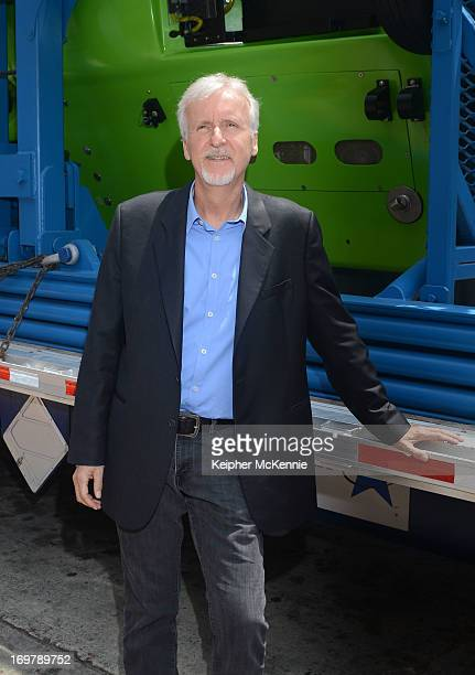 Director James Cameron on stage with Deepsea Challenger at California Science Center on June 1 2013 in Los Angeles California