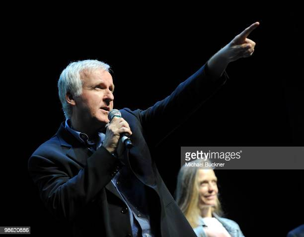 Director James Cameron speaks at the Earth Day celebration and screening of Avatar benefitting the Partnership for Los Angeles Schools at Nokia...