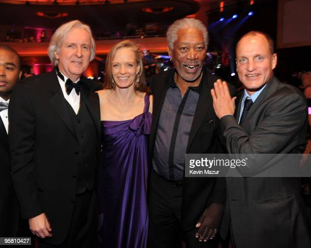 Director James Cameron with actors Suzy Amis, Morgan Freeman and Woody Harrelson during the 15th annual Critics' Choice Movie Awards held at the...