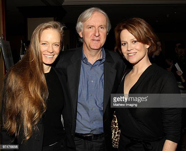 Director James Cameron with wife Suzy Amis and actress Sigourney Weaver arrives at the 47th Annual ICG Publicist Awards at the Hyatt Regency Century...