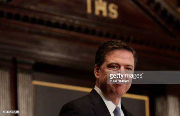 FBI Director James Comey addresses the Master of Science in Foreign Service CyberProject's sixth annual conference on at the Georgetown University in...