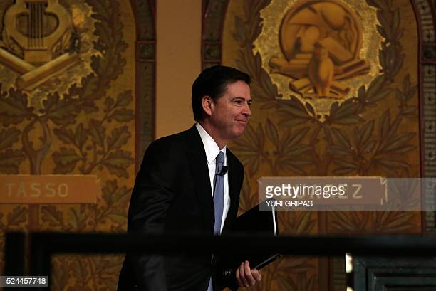 FBI Director James Comey arrives to address the Master of Science in Foreign Service CyberProject's sixth annual conference on at the Georgetown...