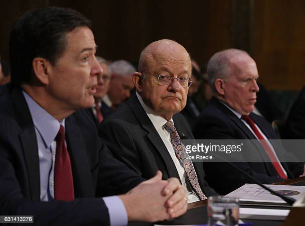 Director James Comey Director of National Intelligence James Clapper and Central Intelligence Agency Director John Brennan testify before the Senate...
