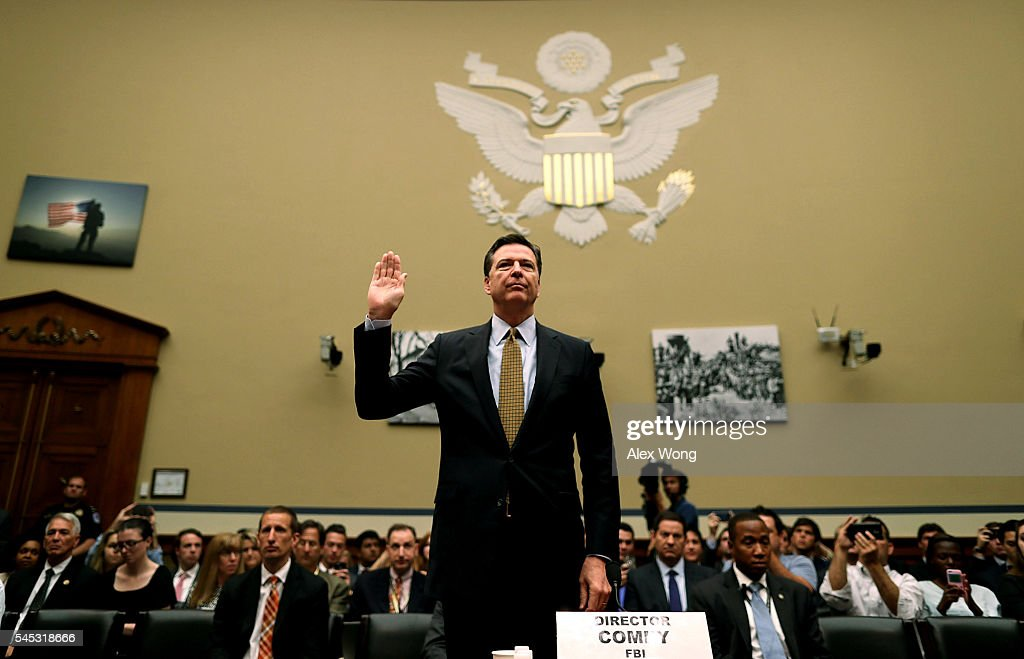 FBI Director Comey Testifies To House Committee On FBI Recommendation Not To Prosecute Clinton Over Private Email Server : News Photo