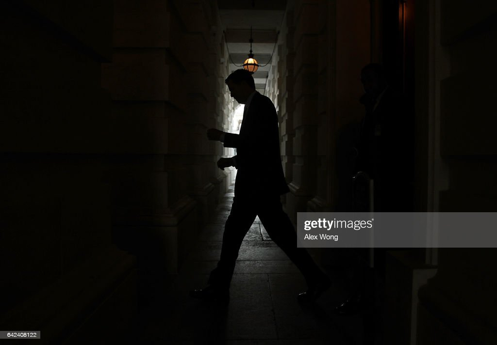 Director James Comey leaves the Capitol after a meeting February 17, 2017 on Capitol Hill in Washington, DC. Comey met with Senate members for a closed door meeting at the Capitol.