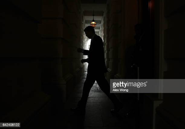 Director James Comey leaves the Capitol after a meeting February 17 2017 on Capitol Hill in Washington DC Comey met with Senate members for a closed...