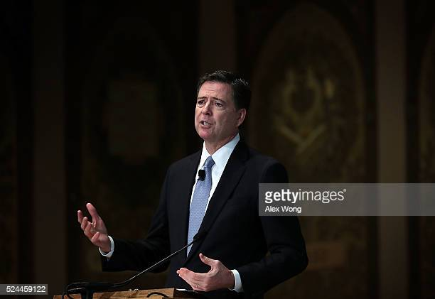 Director James Comey speaks on cyber security at Georgetown University on April 26 2016 in Washington DC Comey addressed the sixth annual...