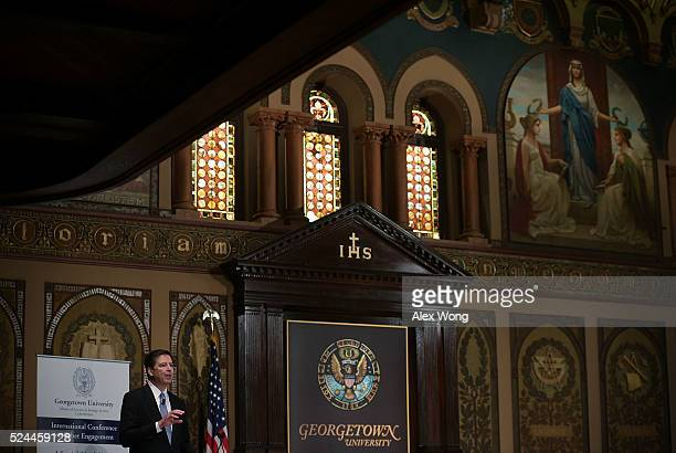 Director James Comey speaks on cyber security at Georgetown University on April 26, 2016 in Washington, DC. Comey addressed the sixth annual...
