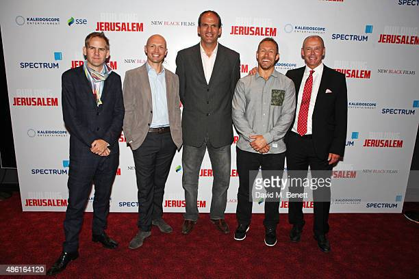 Director James Erskine Matt Dawson Martin Johnson Jonny Wilkinson and Sir Clive Woodward attend the World Premiere of 'Building Jerusalem' at the...