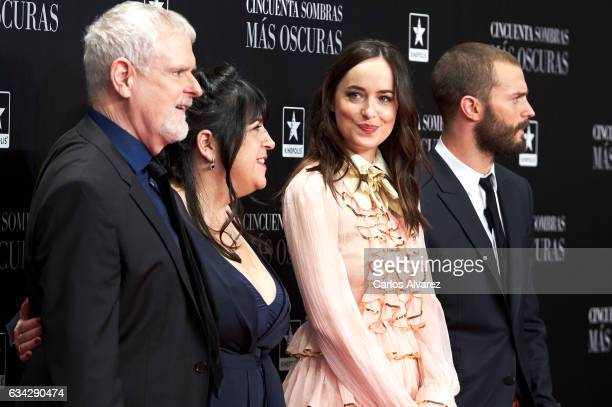 Director James Foley author E L James actress Dakota Johnson and actor Jamie Dornan attend 'Fifty Shades Darker' premiere at the Kinepolis cinema on...