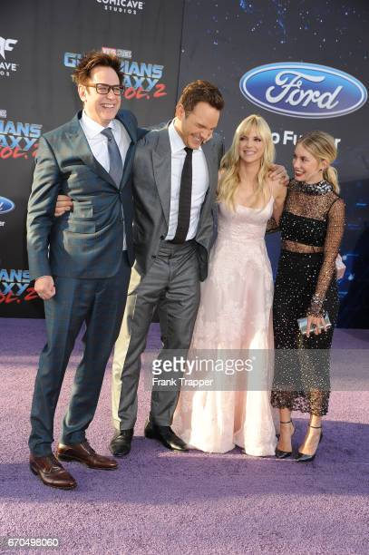 Director James Gunn actor Chris Pratt actress Anna Faris and Jennifer Holland attend the premiere of Disney and Marvel's 'Guardians Of The Galaxy Vol...
