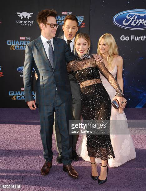 Director James Gunn actor Chris Pratt actress Jennifer Holland and actress Anna Faris attend the premiere of 'Guardians of the Galaxy Vol 2' at Dolby...