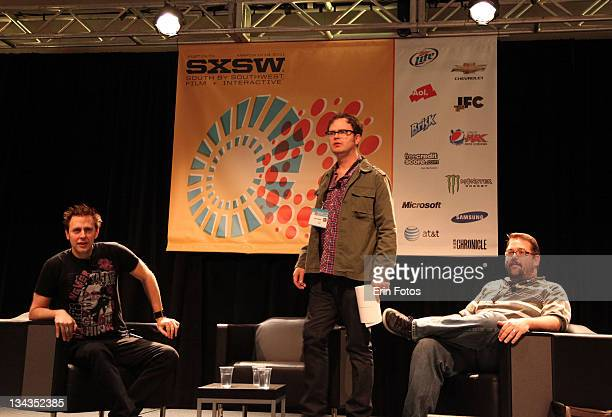 Director James Gunn actor Rainn Wilson and moderator Drew McWeeny attend the 2011 SXSW Music Film Interactive Festival Super Panel at Austin...