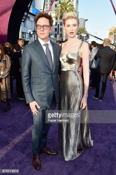 Director James Gunn and actor Elizabeth Debicki at the premiere of Disney and Marvel's 'Guardians Of The Galaxy Vol 2' at Dolby Theatre on April 19...