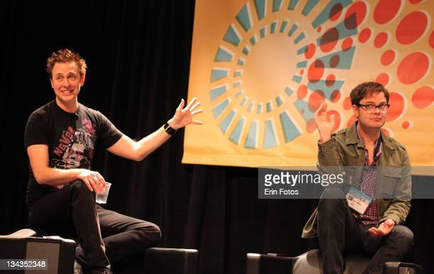 Director James Gunn and actor Rainn Wilson attend the 2011 SXSW Music Film Interactive Festival Super Panel at Austin Convention Center on March 12...