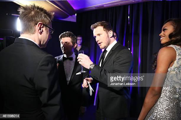 Director James Gunn and actors Adam Scott and Chris Pratt attend the 20th annual Critics' Choice Movie Awards at the Hollywood Palladium on January...