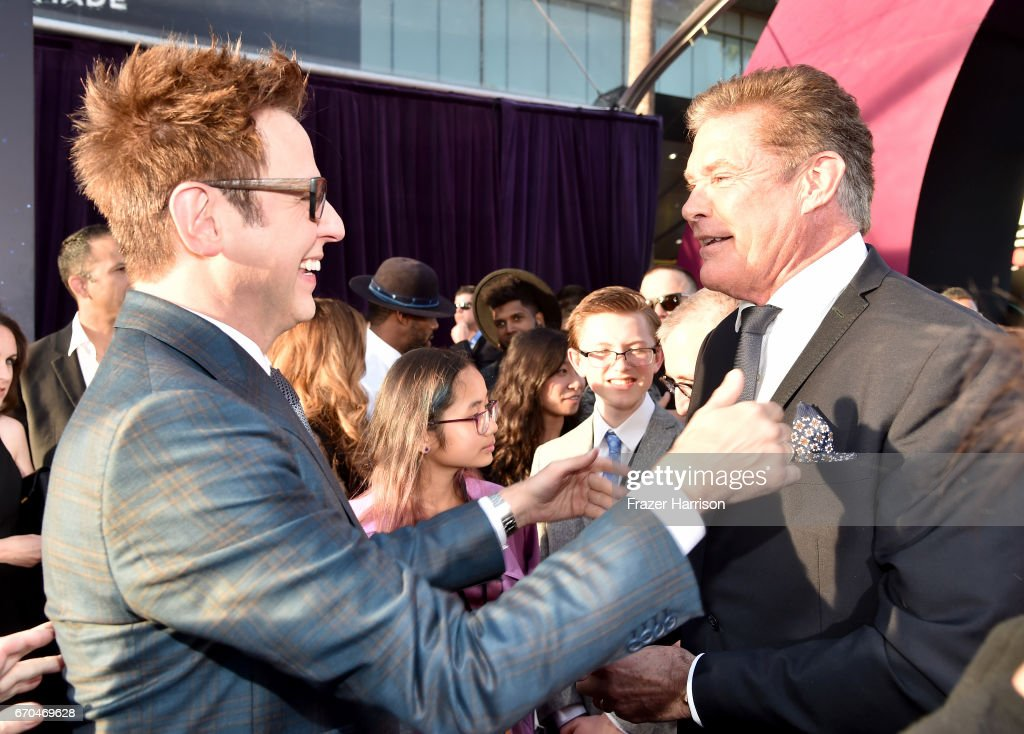 Director James Gunn and David Hasselhoff arrive at the premiere of Disney and Marvel's 'Guardians Of The Galaxy Vol. 2' at Dolby Theatre on April 19, 2017 in Hollywood, California.