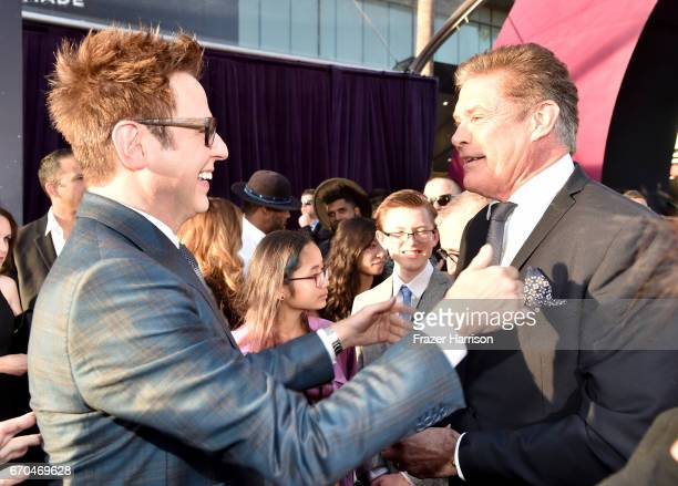 Director James Gunn and David Hasselhoff arrive at the premiere of Disney and Marvel's 'Guardians Of The Galaxy Vol 2' at Dolby Theatre on April 19...