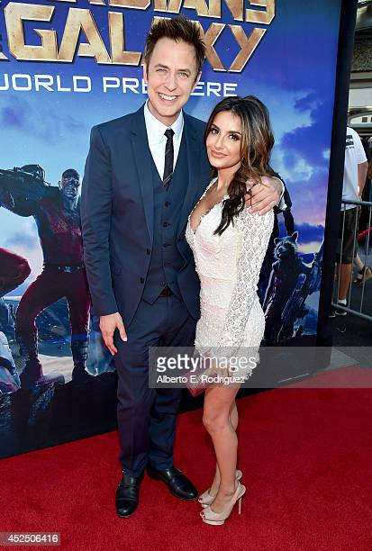 "Director James Gunn and Mikaela Hoover attend The World Premiere of Marvel's epic space adventure ""Guardians of the Galaxy,"" directed by James Gunn..."