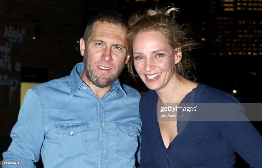 Director James Haslam and actress Uma Thurman attend the screening after party for 'The Con Is On' hosted by The Cinema Society at Arlo Roof Top on May 2, 2018 in New York City.
