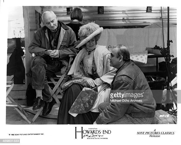 Director James Ivory actress Vanessa Redgrave and Ismail Merchant on set of the movie 'Howards End ' circa 1992