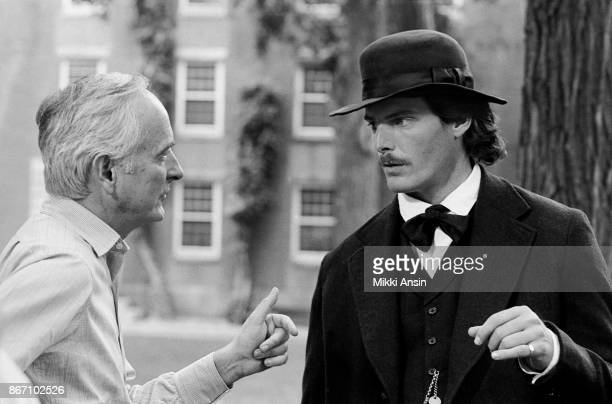 Director James Ivory directs actor Christopher Reeve in 'The Bostonians' in September 1983 Cambridge Massachusetts