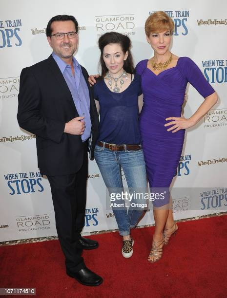 Director James Kerwin actress Adrienne Wilkinson and producer Lisa Hansel arrive for the 'When The Train Stops' Los Angeles Premiere held at...