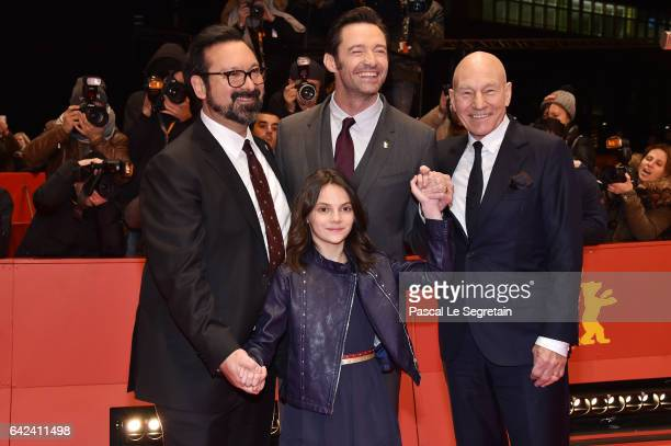 Director James Mangold actors Dafne Keen Hugh Jackman Patrick Stewart attend the 'Logan' premiere during the 67th Berlinale International Film...