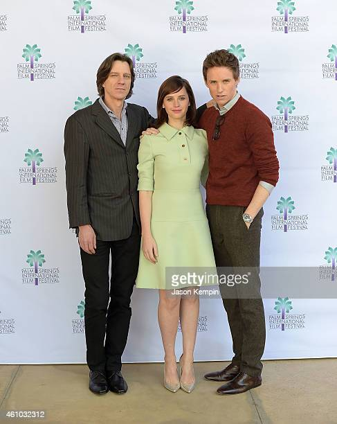 Director James Marsh actress Felicity Jones and actor Eddie Redmayne attend the screening of Theory of Everything at the Annenberg Auditorium on...
