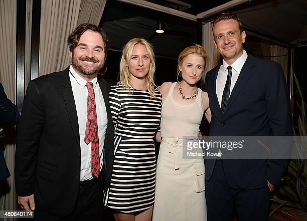 Director James Ponsoldt actor Mickey Sumner actor Mamie Gummer and actor Jason Segel attend the afterparty for the Los Angeles premiere of A24's The...