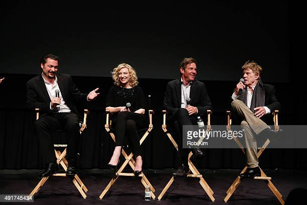 Director James Vanderbilt Cate Blanchett Dennis Quaid and Robert Redford attend a panel discussion following the official Academy Screening of TRUTH...
