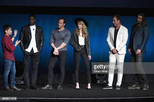 Director James Wan actors Yahya AbdulMateen II Patrick Wilson Amber Heard Will Arnett and Jason Momoa speak onstage during CinemaCon 2018 Warner Bros...