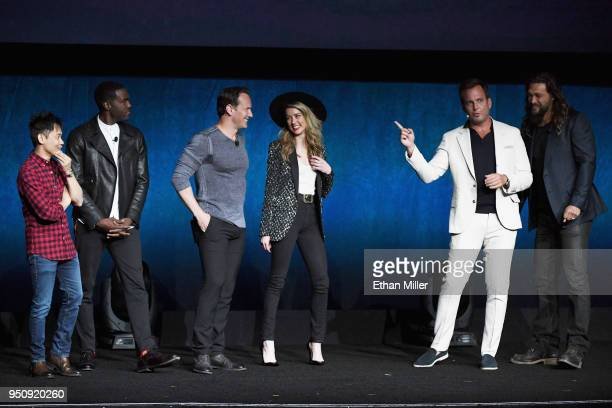 Director James Wan actors Yahya AbdulMateen II Patrick Wilson Amber Heard Will Arnett and Jason Momoa speak onstage during CinemaCon 2018 Warner Bros...