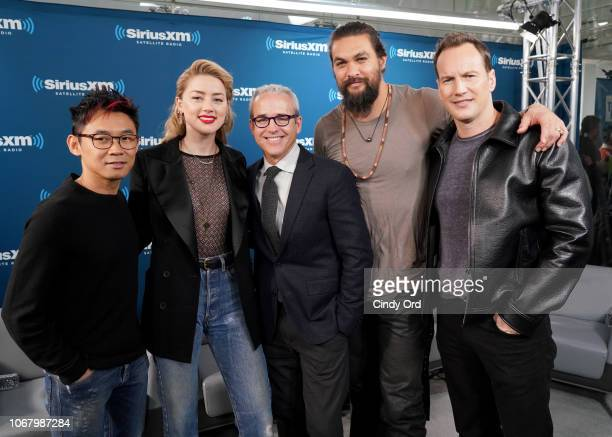 Director James Wan Amber Heard Jess Cagle Jason Momoa and Patrick Wilson attend SiriusXM's Town Hall With The Cast Of 'Aquaman' on December 4 2018 in...