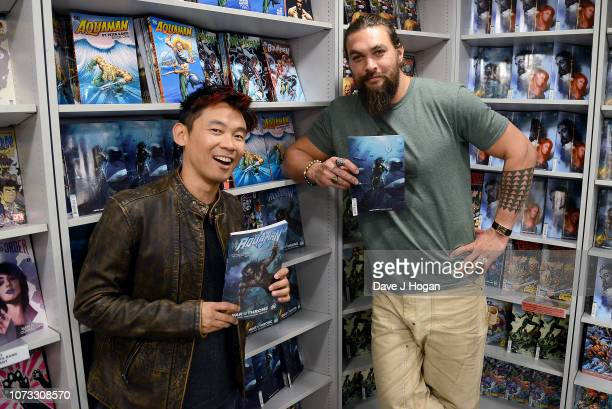 Director James Wan and Jason Momoa attend the 'Aquaman' Meet And Greet At Forbidden Planet on November 27 2018 in London England