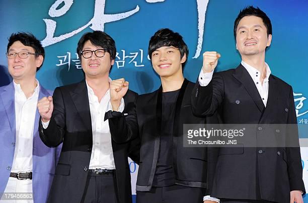 Director Jang JoonHwan Kim YunSeok Yeo JinGu and Jang HyunSung attend the 'Hwai' press conference at Dongdaemun Megabox on September 3 2013 in Seoul...