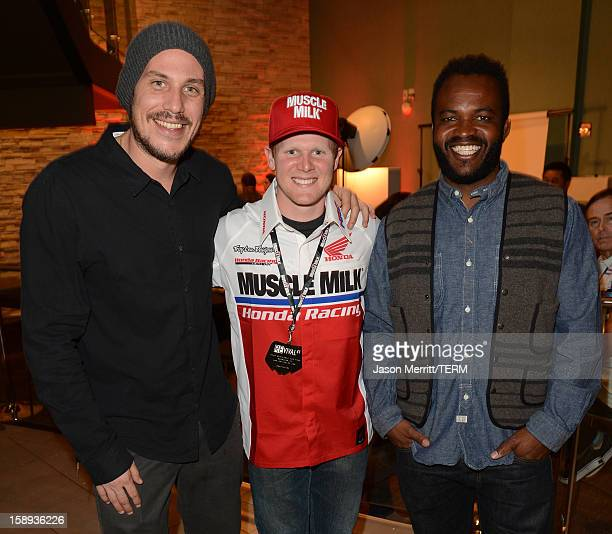 Director Jason Bergh supercross champion Trey Canard and producer Sal Masekela attend the Trey Canard 'REvival 41' premiere held at UltraLuxe Cinemas...