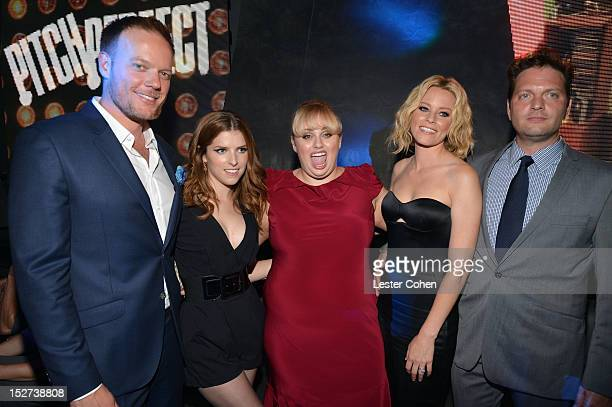 Director Jason Moore actresses Anna Kendrick Rebel Wilson actress/producer Elizabeth Banks and producer Max Handelman attend the Pitch Perfect Los...