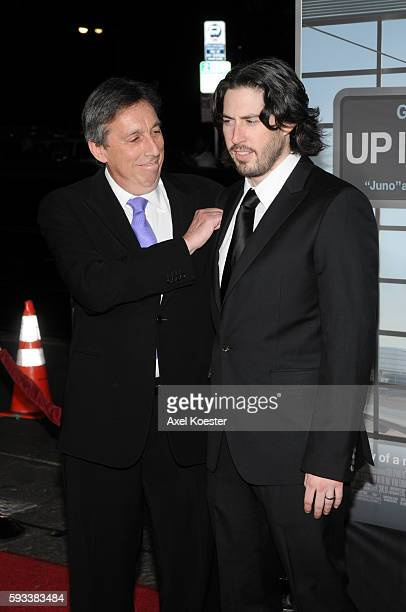 Director Jason Reitman and his dad producer Ivan Reitman arrive to the Los Angeles premiere of Paramount Picture's 'Up In The Air' at Mann's Village...
