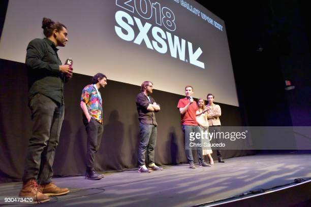 Director Jason Stone and actors Stefanie Scott and Theodore Pellerin speak onstage at the premiere of 'First Light' during SXSW at Alamo Lamar on...