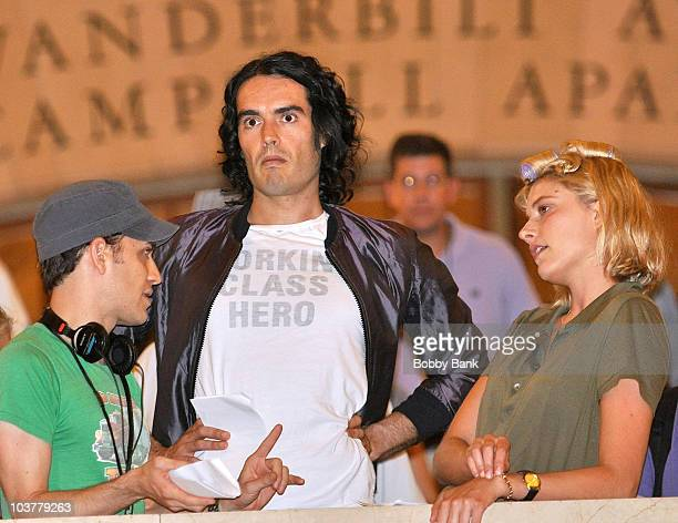 Director Jason Winer Russell Brand and Greta Gerwig filming on location for Arthur at Streets of Manhattan on August 31 2010 in New York City
