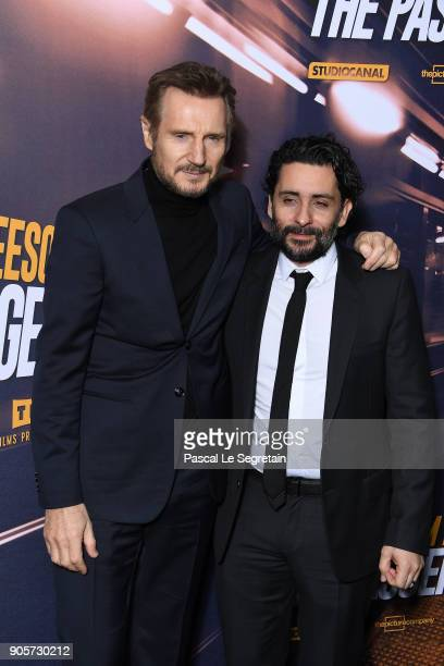 Director Jaume ColletSerra and Liam Neeson attend 'The Passenger' Paris Premiere At Cinema UGC Normandie on January 16 2018 in Paris France