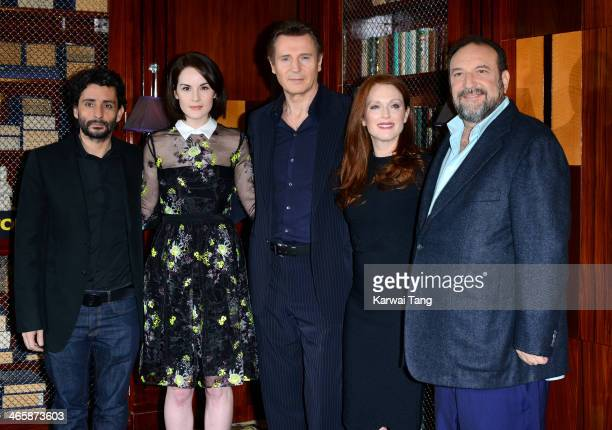 Director Jaume ColletSerra Michelle Dockery Liam Neeson Julianne Moore and producer Joel Silver attend a photocall for the film 'Non Stop' at The...