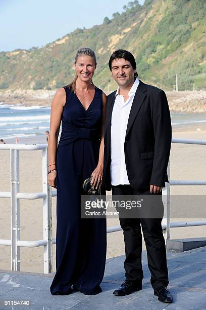 Director Javi Elortegi and actress Anne Igartiburu attend 'Zorion Perfektua' photocall at the Zurriola Maritimo Club during the 57th San Sebastian...
