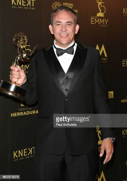 Director Jay Hatcher attends the press room at the 45th Annual Daytime Creative Arts Emmy Awards at the Pasadena Civic Auditorium on April 27 2018 in...