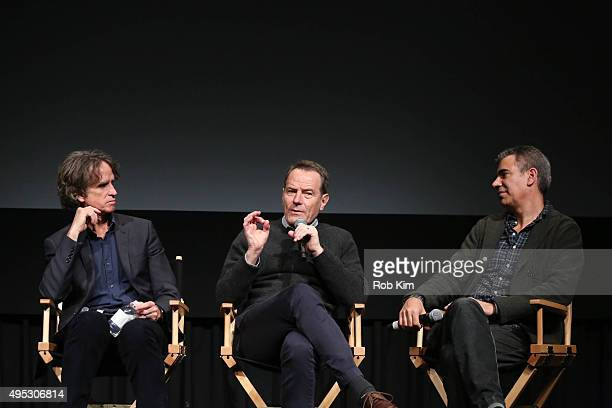 Director Jay Roach actor Bryan Cranston and producer Michael London attend a panel following the official Academy Screening of TRUMBO hosted by The...