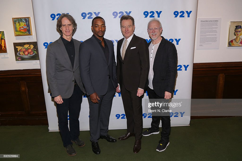 Director Jay Roach, Actors Anthony Mackie, Bryan Cranston and Writer Robert Schenkkan attend a preview screening of 'All The Way' at The 92nd Street Y on May 18, 2016 in New York City.